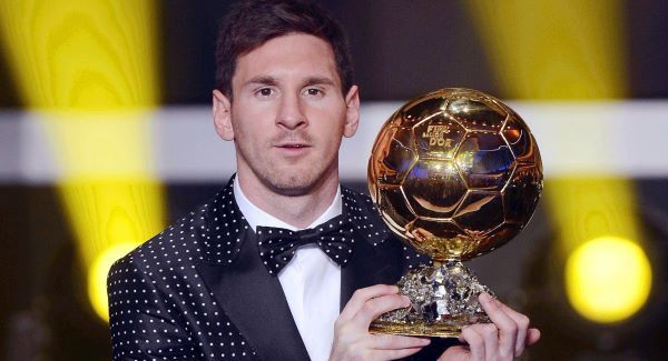 Lionel Messi poses with his Ballon d&#39;Or trophy. Picture: AP